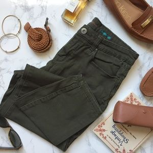 Olive Green Mid-rise Skinny Jeans